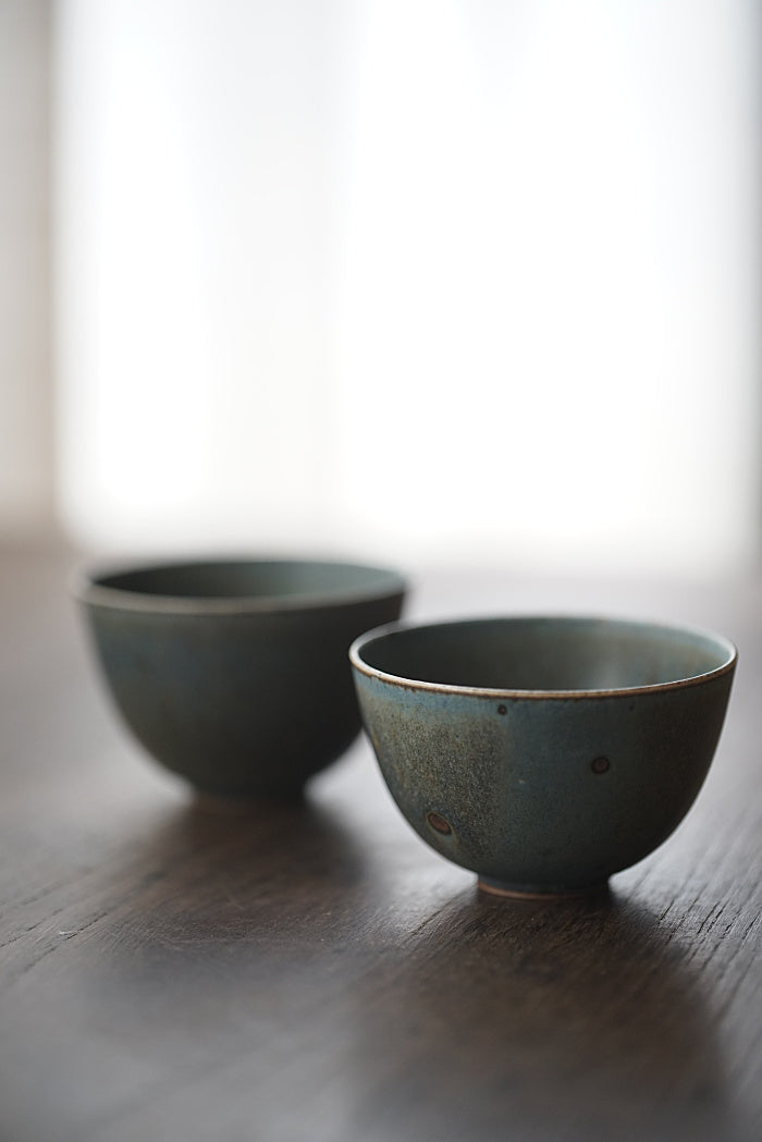 Peacock Blue Kiln-fired Host Teacups - Series 4