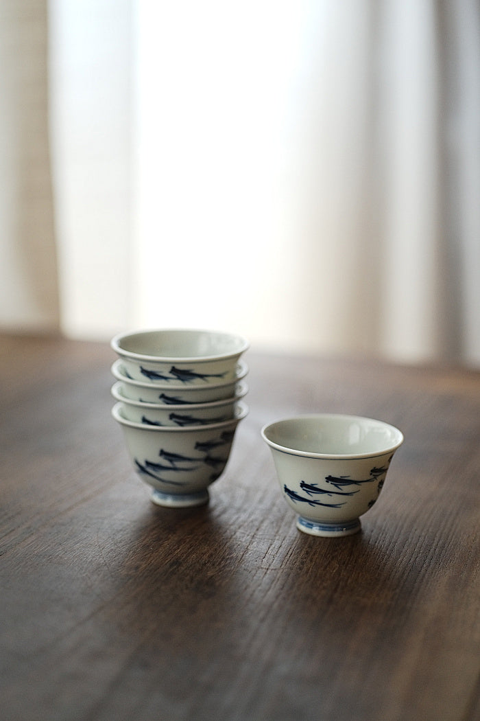 School of Fish Qinghua Blue & White Teacup - Series 2