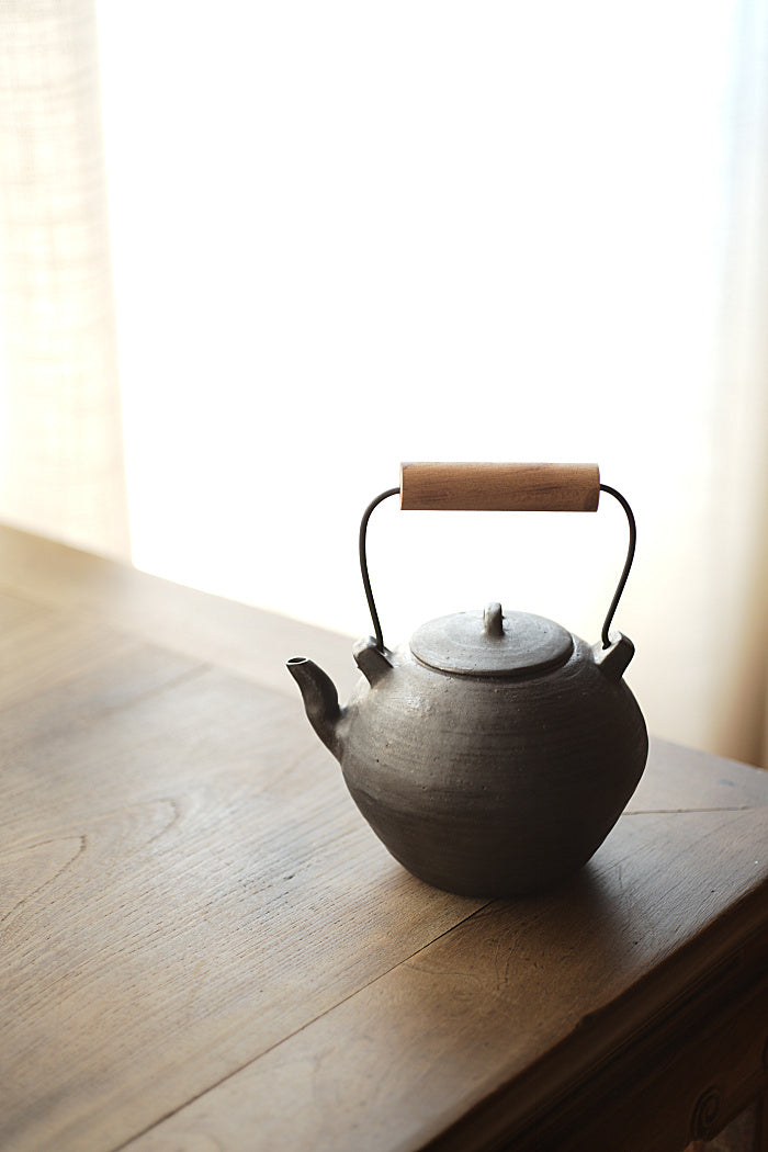 Wood-Handled Ceramic Kettle With Metal Glaze - Series 2