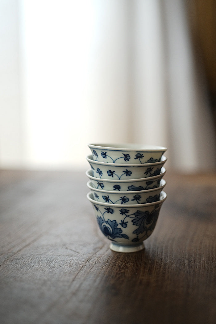 "Tangled Branches ""Chan Zhi"" Blue & White Qinghua Teacup"
