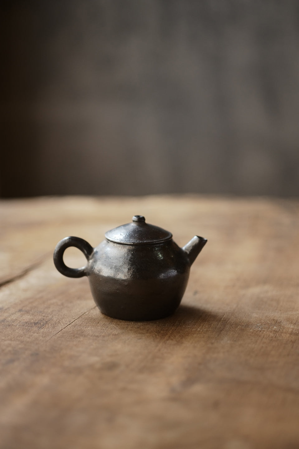 Small Black Metal-glazed Clay Teapot