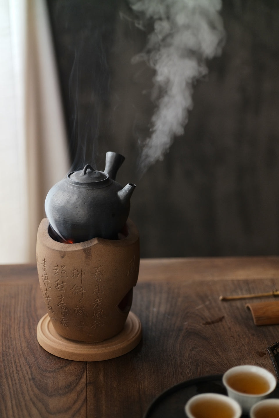 Black-Glazed Side Handle Tea Kettle