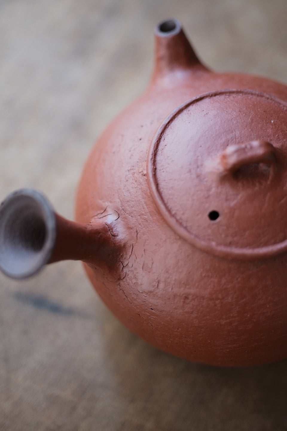 Red Earth Glazed Side-Handle Tea Kettle