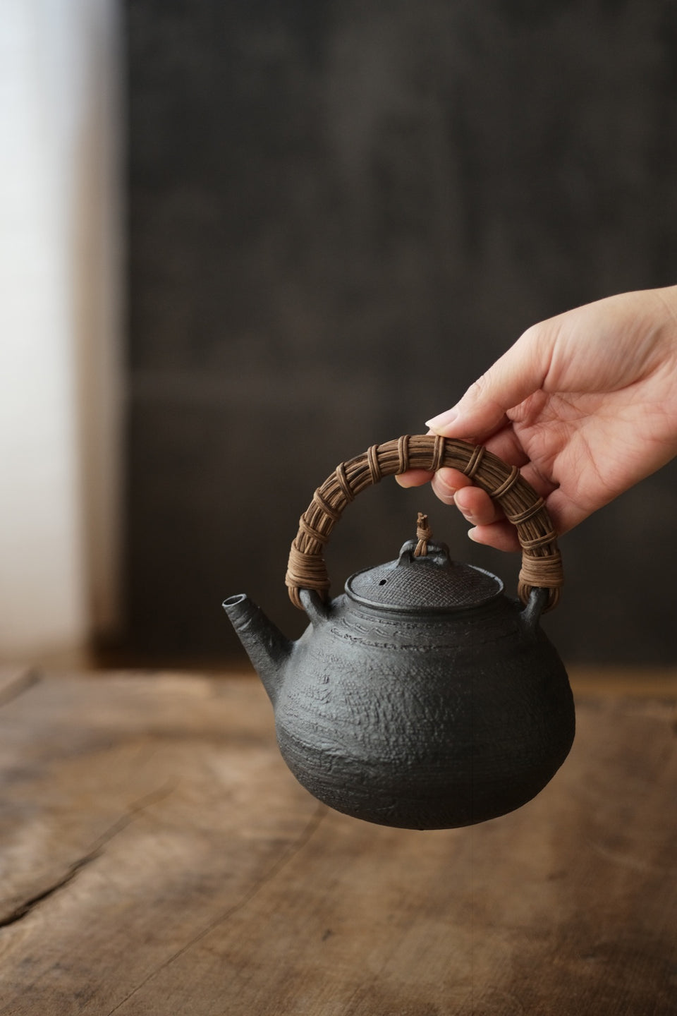 Cloth Patterned Rattan-Handled Clay Tea Kettle
