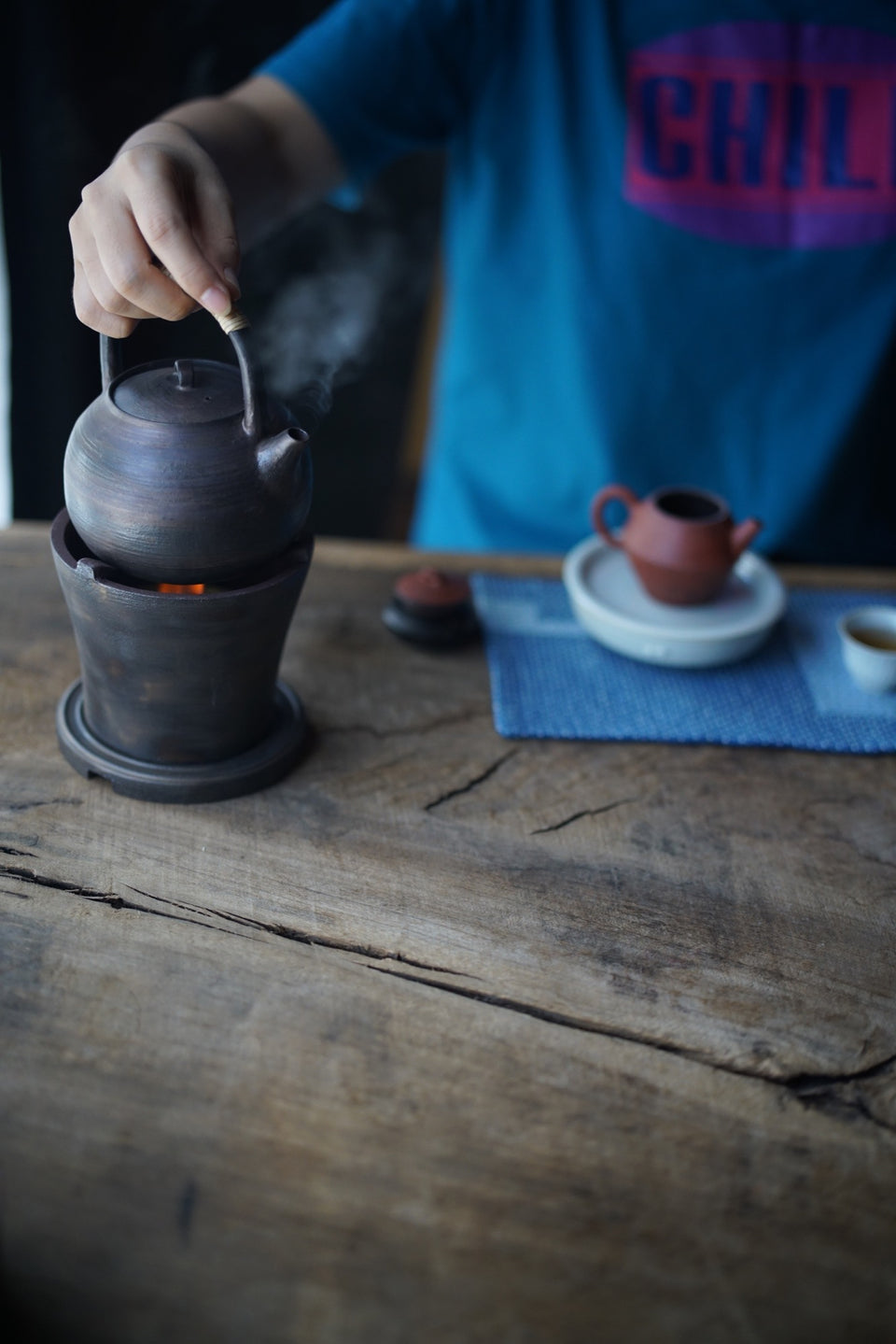 Dark Glazed Ceramic Kettle with Bamboo Skin Handle