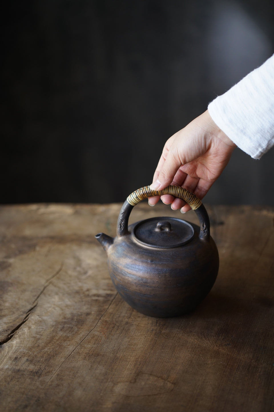 Metal Glazed Ceramic Kettle with Bamboo Skin Handle