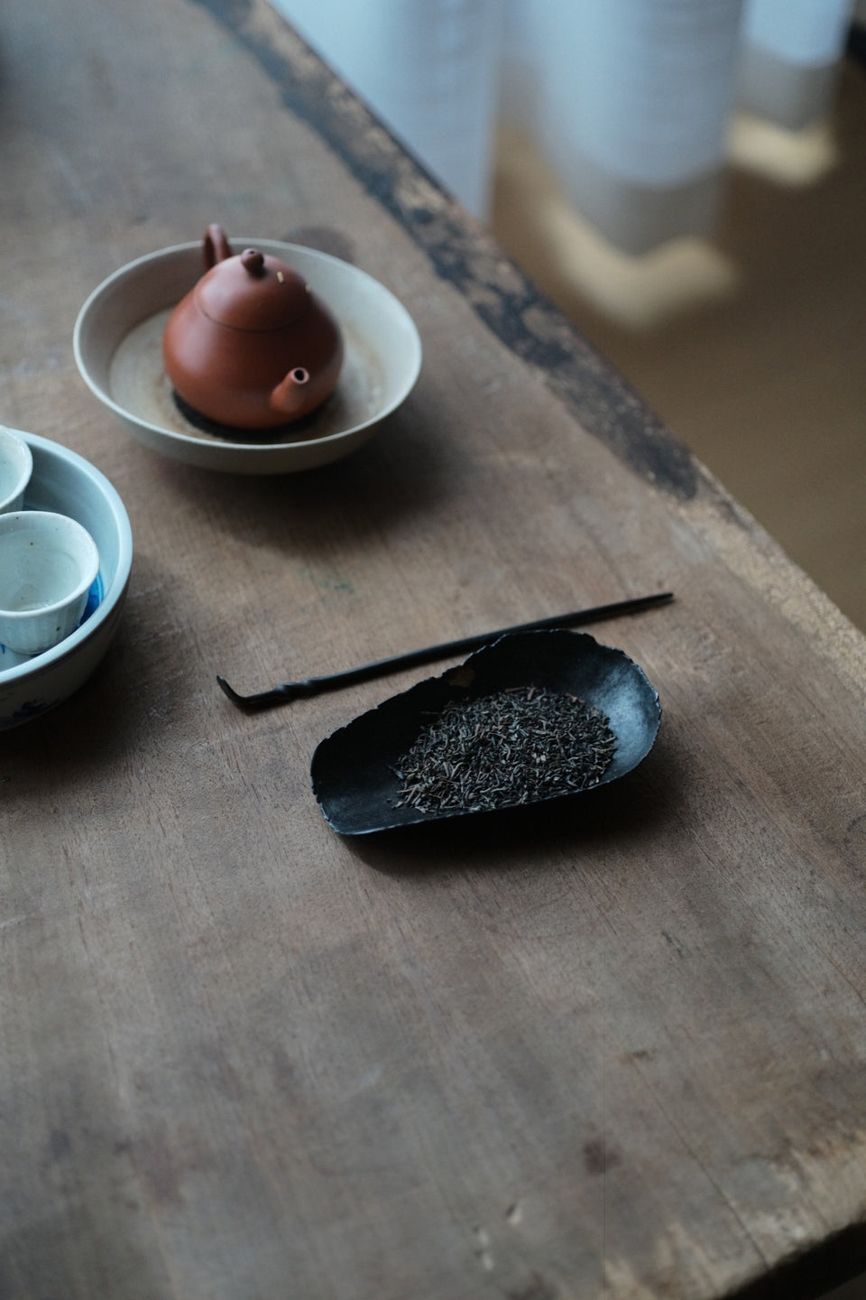 Iron and Copper Cha Ze Tea Holder and Tea Scoop