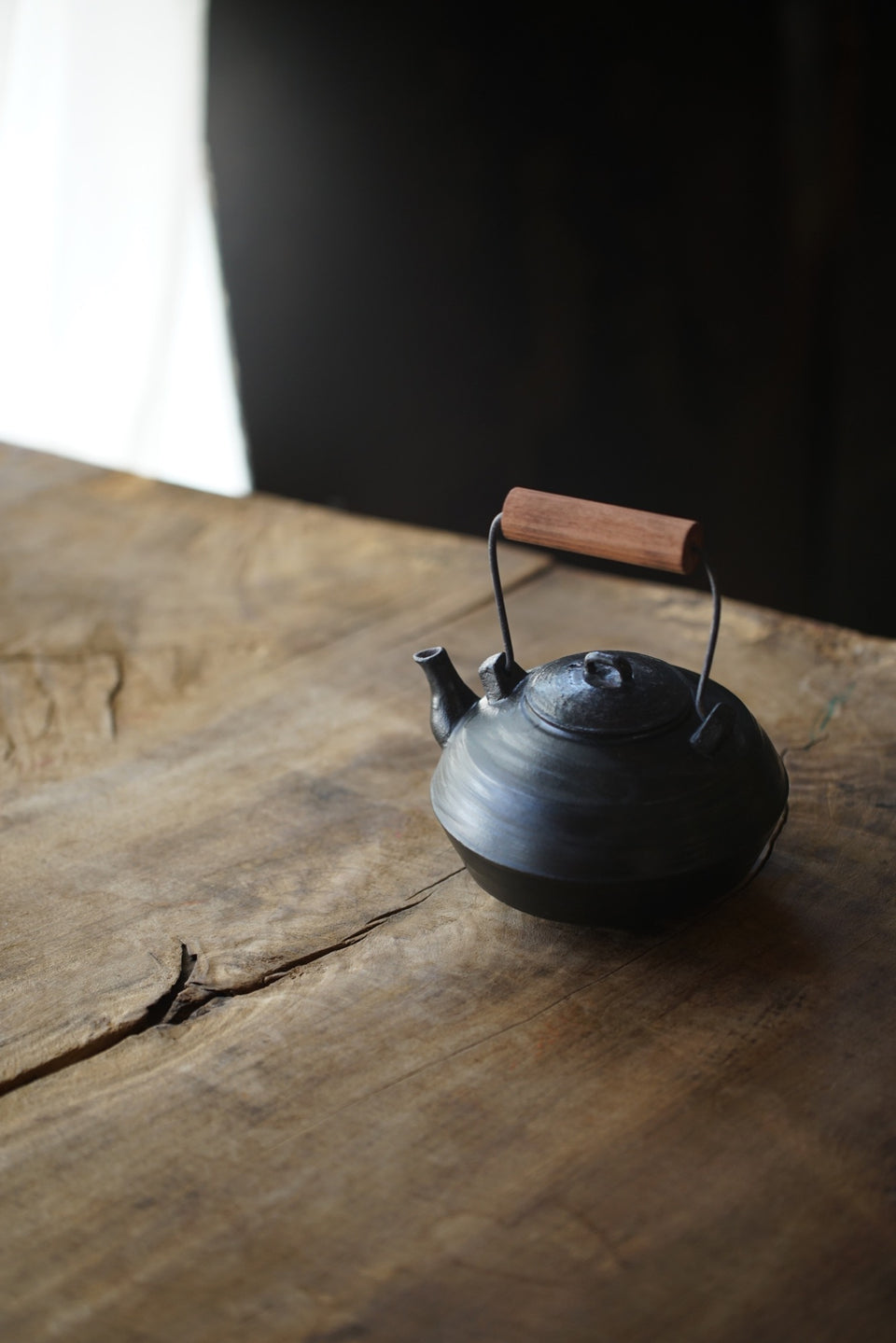 Black Clay Wood-Handled Tea Kettle