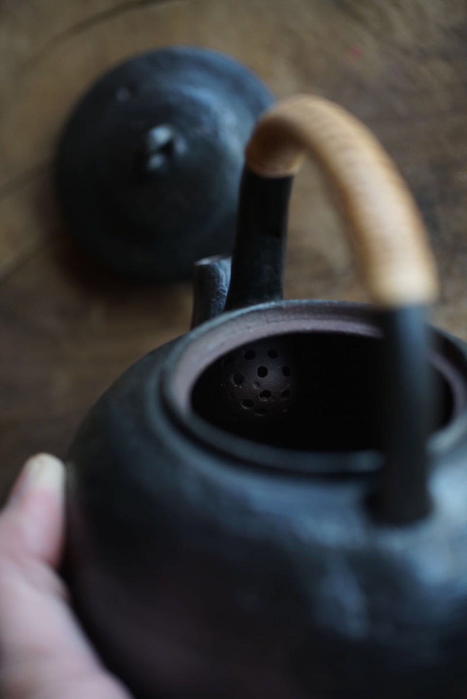 Textured Clay Kettle with Bamboo Skin Handle