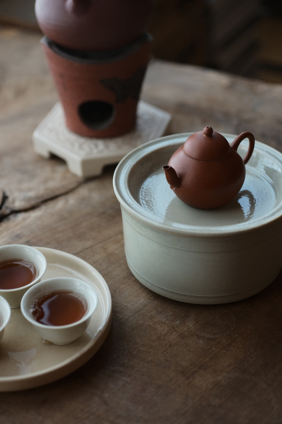 Ash-fired Off-White Porcelain Gongfu Tea Hucheng