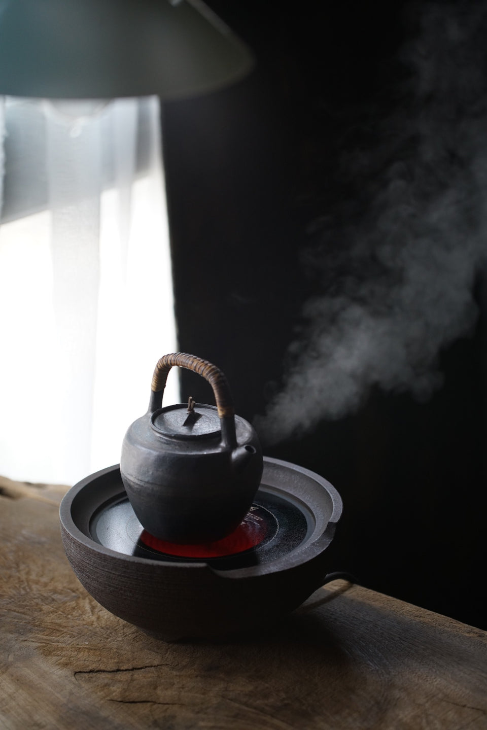 Rattan-Wrapped Beam Handle Tea Kettle