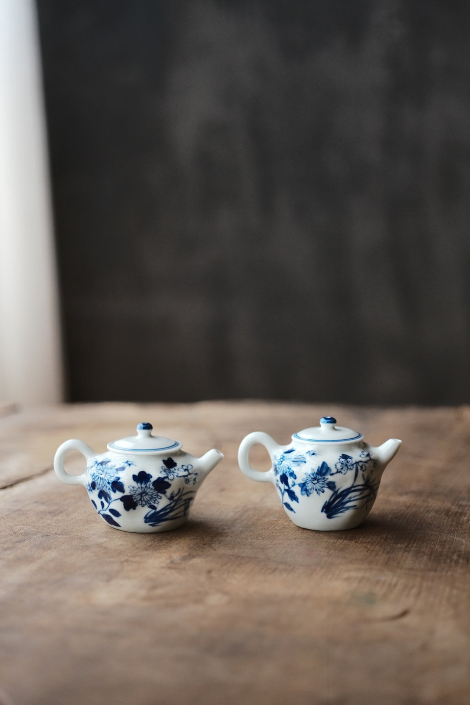 Wabi-Sabi Four Flowers Qinghua Blue and White teapot