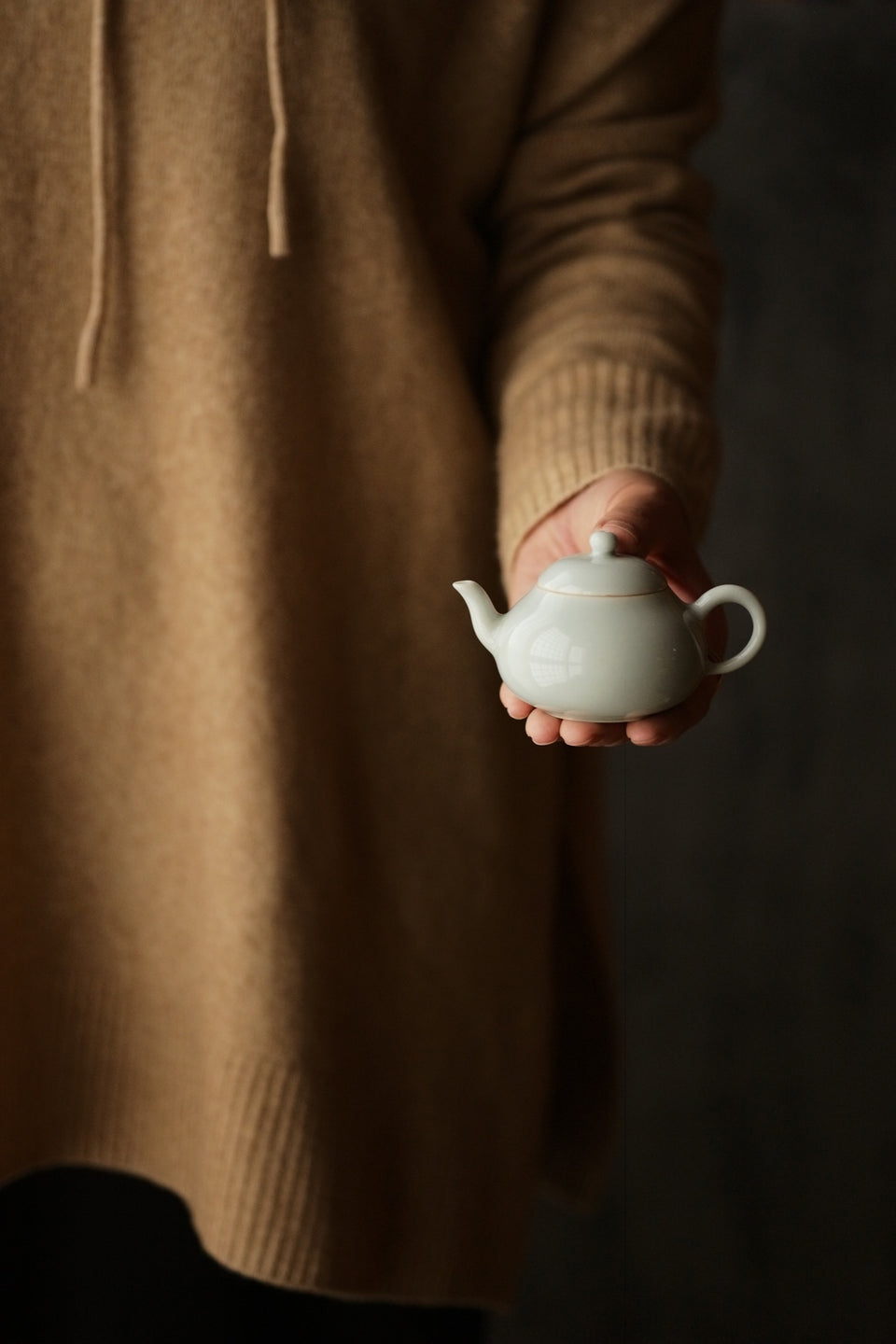 Petite Celadon Pear Shaped Porcelain Teapot