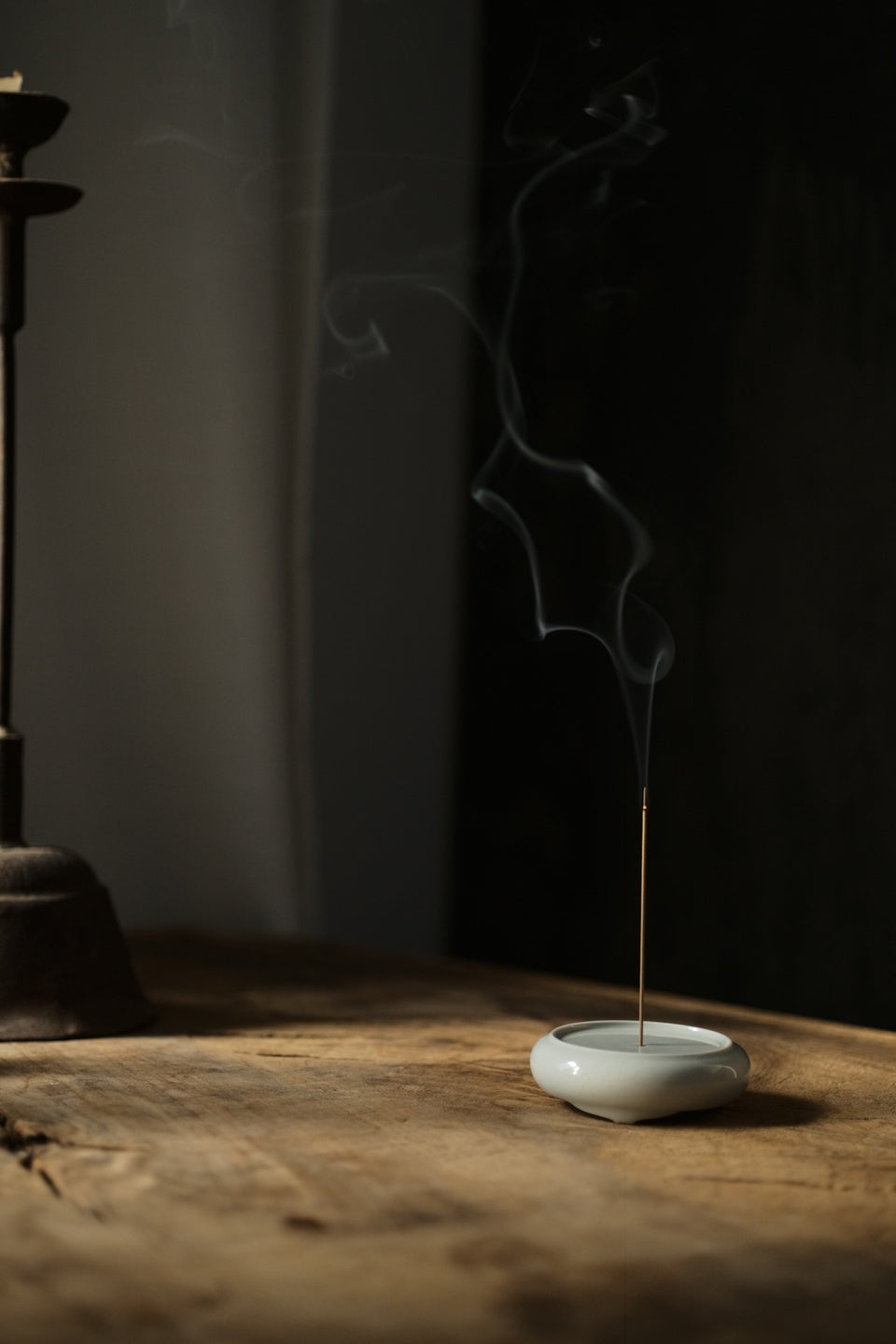 Ash-Glazed Ceramic Incense Holder