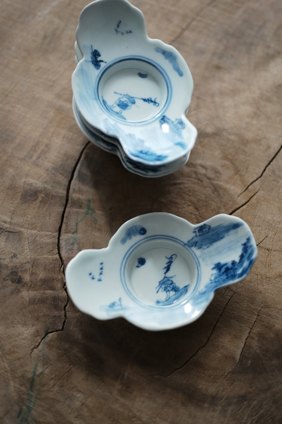 Fishing Man Qinghua Hand-made & Painted Teacup Saucers