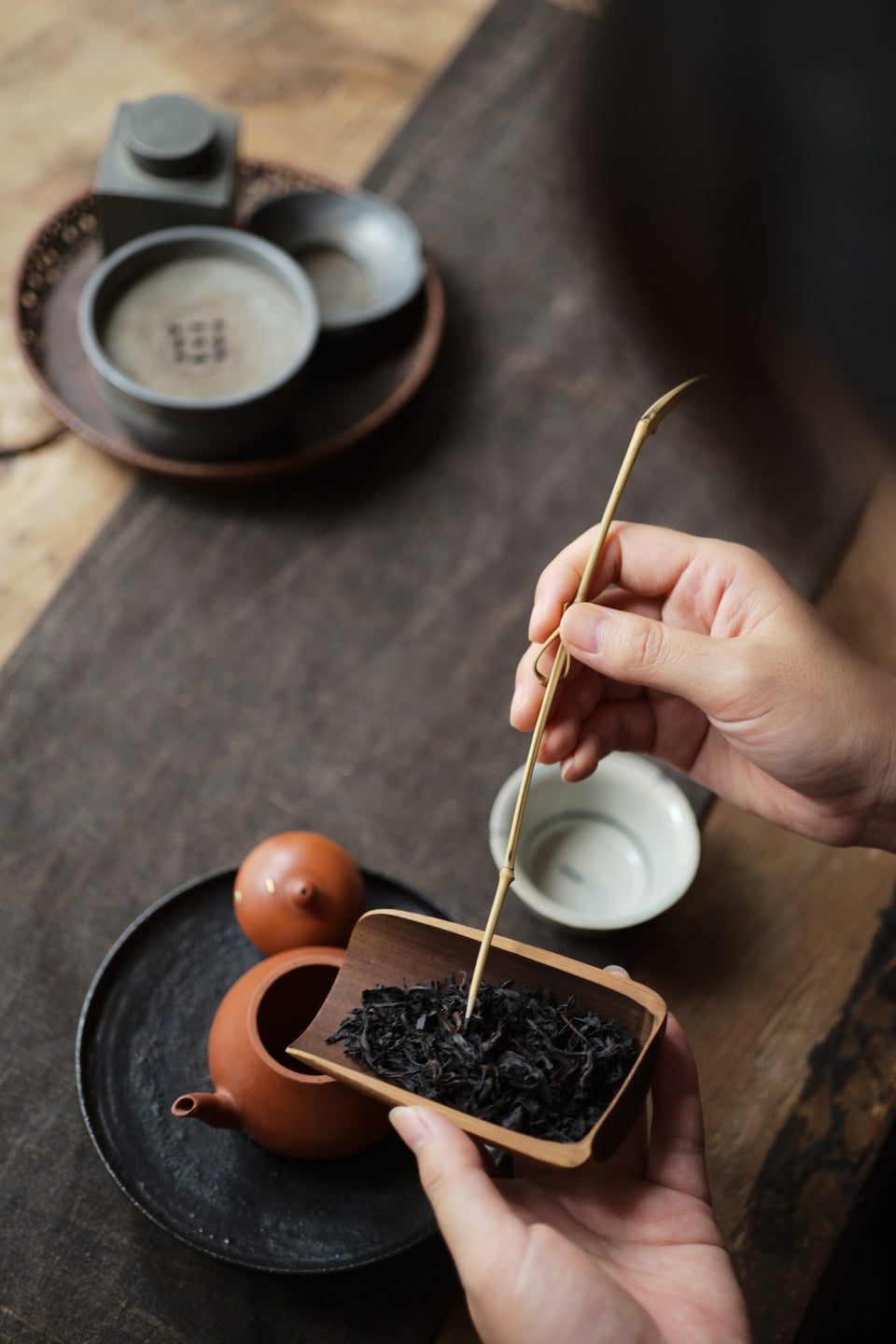 Bamboo Cha Ze Tea Holder & Tea Scoop