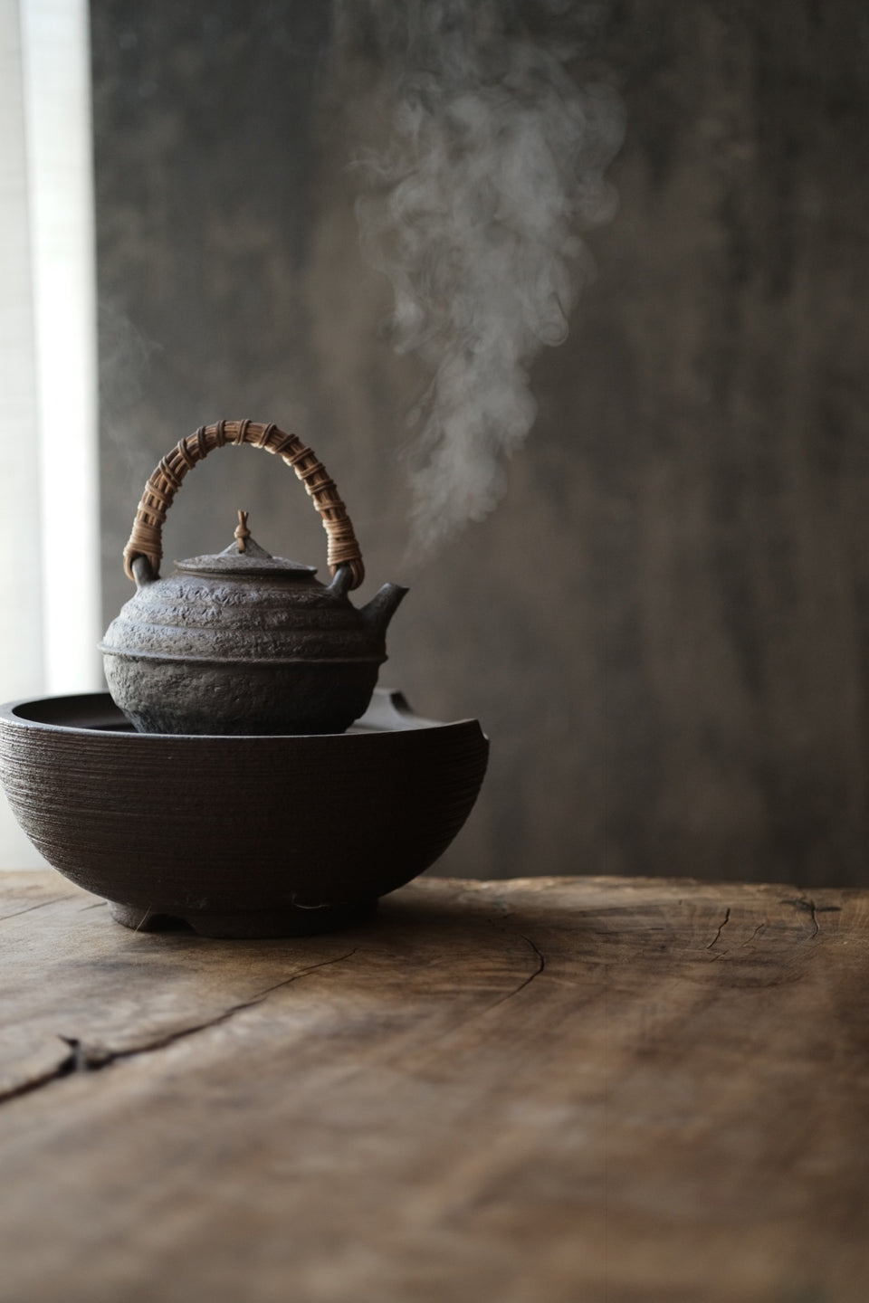 Raw Clay Textured Tea Kettle with Bamboo Handle