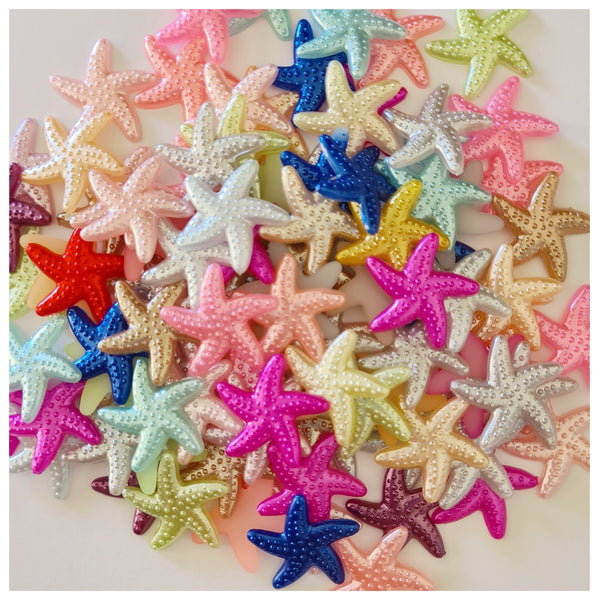 10 x Pearly Starfish Embellishments (Mixed colours)