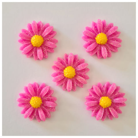 5 x Glitter Daisy Embellishments (3 colour choices)