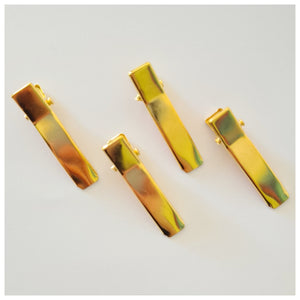 10pcs x 35mm GOLD Double Pronged Alligator Clips.