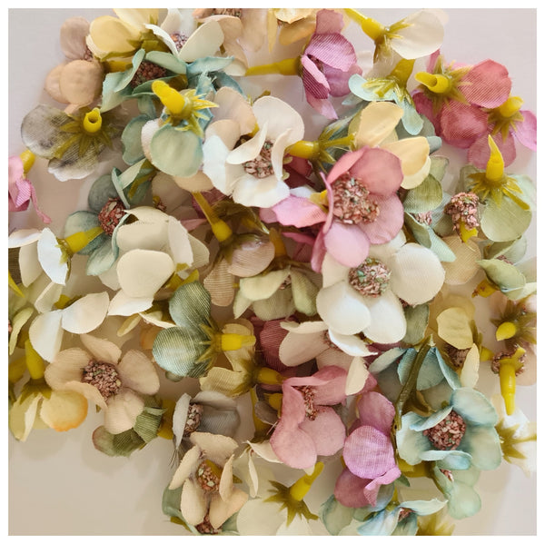 Multi Coloured Mix of 2cm Fabric Flower Heads (Autumn Mix)