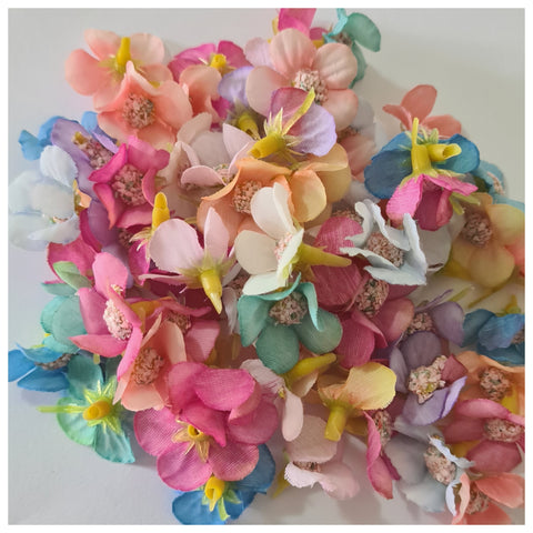 Multi Coloured Mix of 2cm Fabric Flower Heads (Spring Mix)