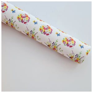 A4 Sheet of Floral Bouquet Litchi Leather