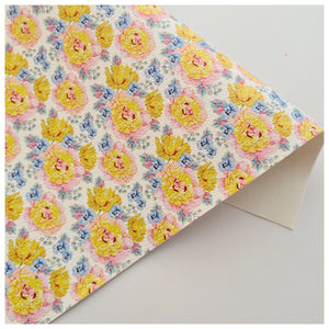 A4 Sheet of Peonies and Pansies Litchi Leather