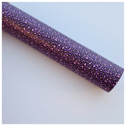 A4 Sheet of Purple Petite Leopard Print Litchi Faux Leather