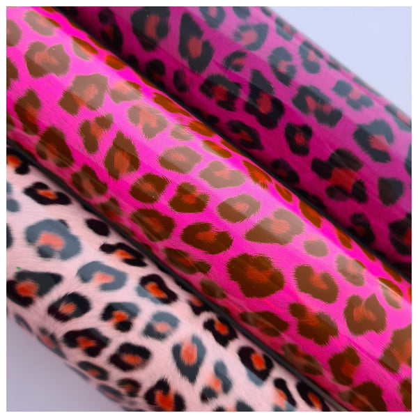 A4 Sheet of Holographic Hot Pink Leopard Print Faux Leather