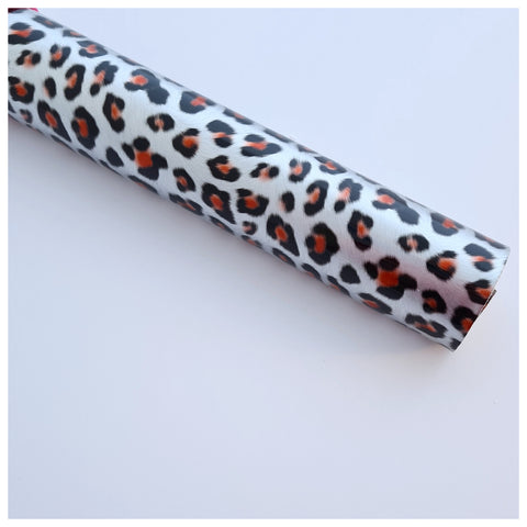 A4 Sheet of Silver Leopard Print Faux Leather