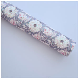 A4 Sheet of Blush Roses on Grey Chunky Glitter