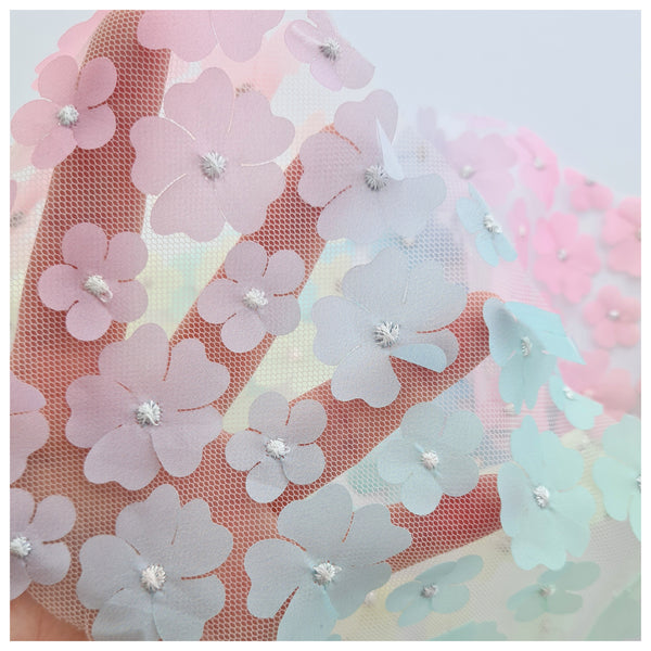1m Floral Tulle - various colours