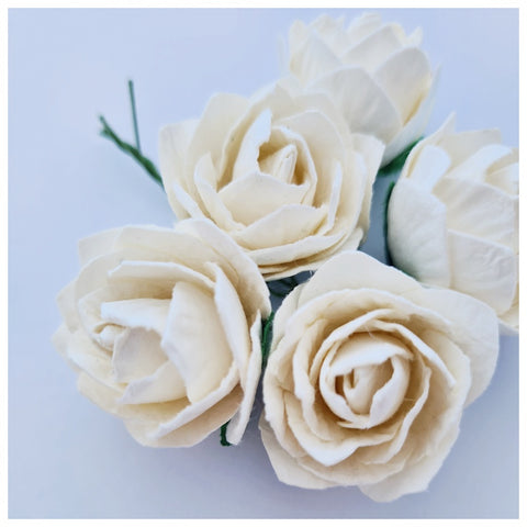 30mm Ivory Mulberry Paper Peony (5 stems)