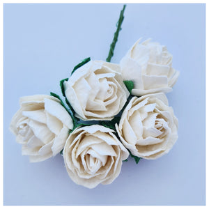30mm White Mulberry Paper Peony (5 stems)