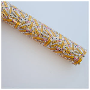A4 Sheet of School Pencils Jelly Fabric (TPU)