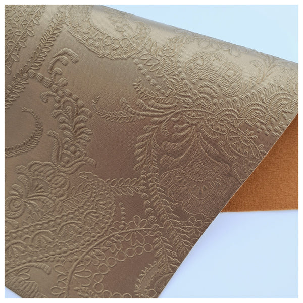 A4 Sheet of Metallic Mocha Vintage Embossed Lace Faux Leather (0.9mm)