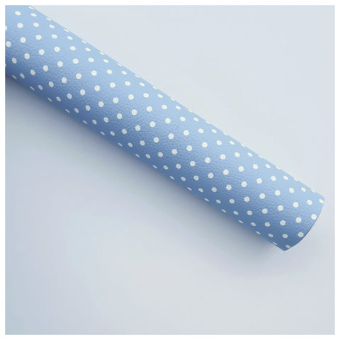 A4 Sheet of Sky Polka Dots Litchi Leather