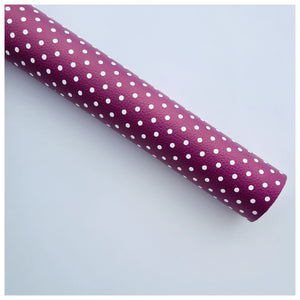 A4 Sheet of Mulberry Polka Dots Litchi Leather