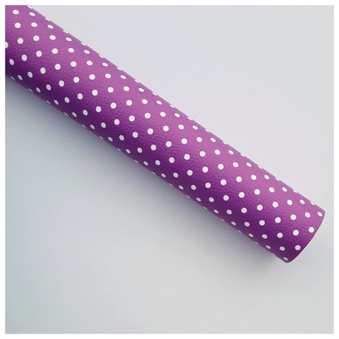 A4 Sheet of Plum Polka Dots Litchi Leather