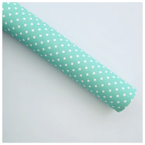A4 Sheet of Mint Polka Dots Litchi Leather