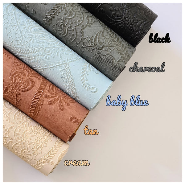 A4 Sheet of Cream Vintage Embossed Lace Faux Leather (0.9mm)