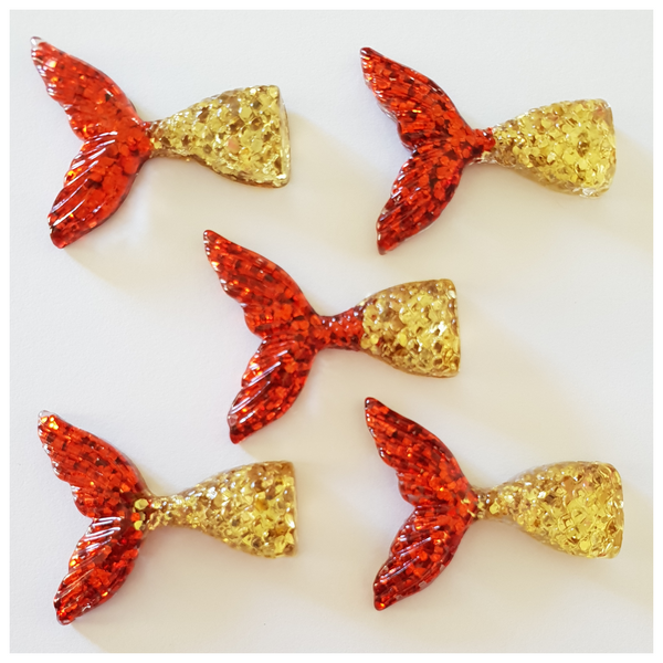 5 x Red and Gold Glitter Mermaid Tail Embellishments