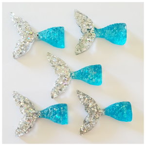 5 x Turquoise and Silver Mermaid Tail Embellishments