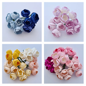 10-15mm Mulberry Paper Buttercups (Various colours. 5 stems)