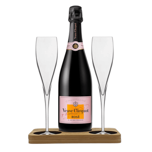 Veuve Clicquot Rose Presentation Stand Includes 2 Fine Crystal Champagne Glass