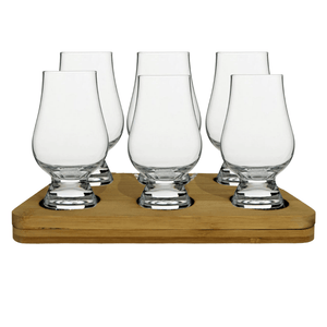 The Original Glencairn Whisky Glass - 6 Pack Tasting Gift Set includes Wooden Presentation Stand