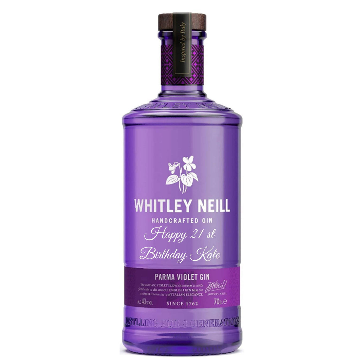 Personalised Whitley Neill Parma Violet Gin 43% 700ml