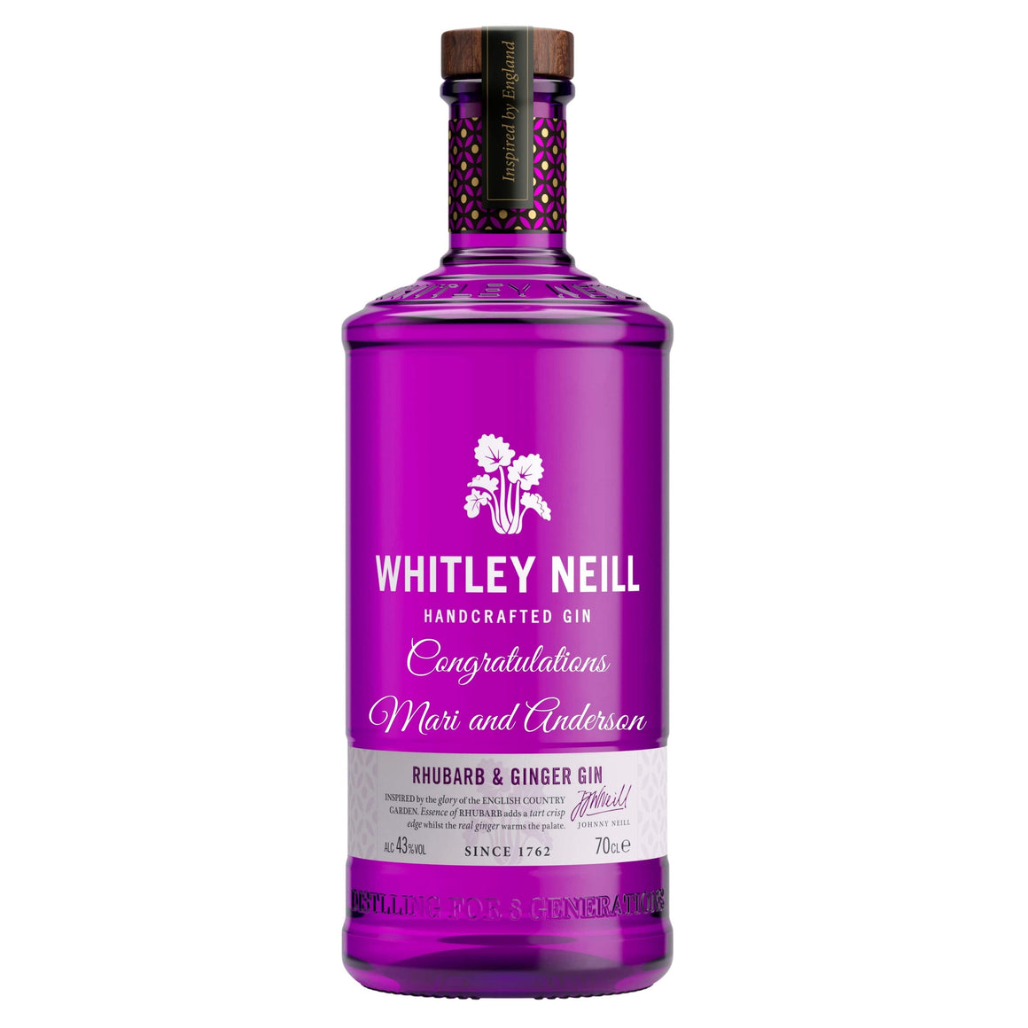 Personalised Whitley Neill Ginger and Rhubarb Gin 43% 700ml