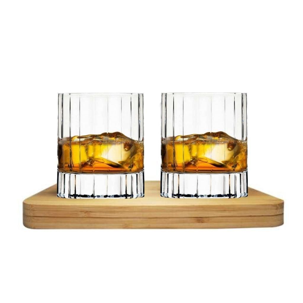Luigi Bormioli Bach Whisky Crystal Glass Tasting Gift Set includes Wooden Presentation Stand